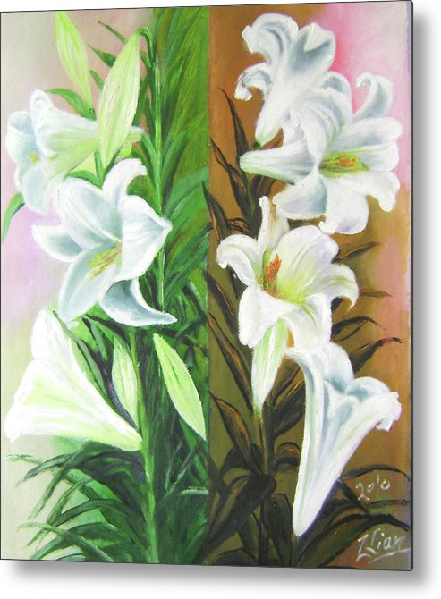 Flowers Metal Print featuring the painting White Orchids Duet by Lian Zhen