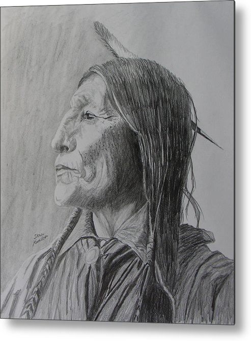 Indian Metal Print featuring the drawing Chief Wolf Robe by Stan Hamilton