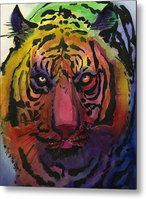 Tiger Metal Print featuring the painting Tiger Tiger by Galen Hazelhofer