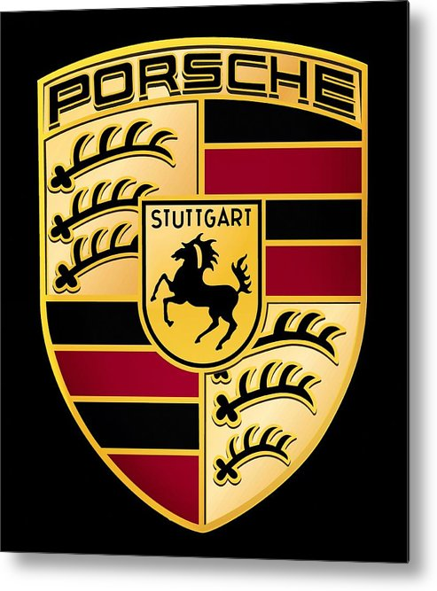 Porsche Logo Metal Print featuring the digital art Porsche Logo by Max Dedrick