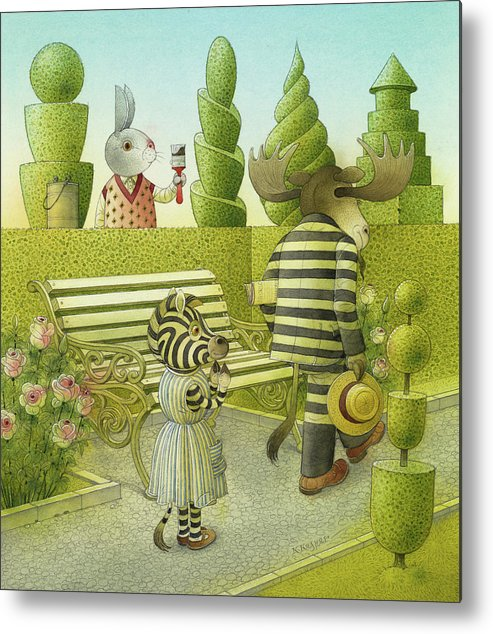 Striped Zebra Deer Rabbit Garden Green Illustration Children Book Drawing Bench Plants Animals Metal Print featuring the drawing A Striped Story01 by Kestutis Kasparavicius
