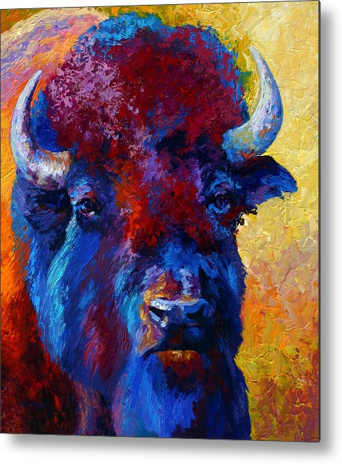 Wildlife Metal Print featuring the painting Bison Boss by Marion Rose