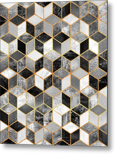 Graphic Design Metal Print featuring the digital art Black and White Cubes by Elisabeth Fredriksson