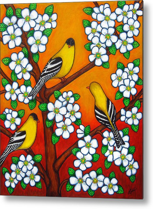 Goldfinch Metal Print featuring the painting Chardonnay Sunset by Lisa Lorenz