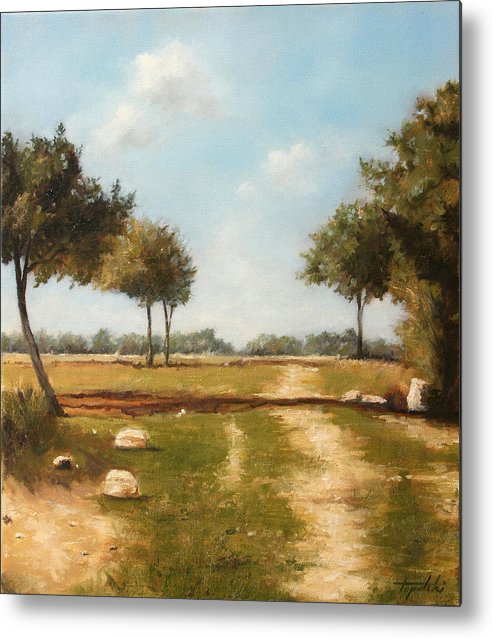 Landscape Metal Print featuring the painting Country Road with Trees by Darko Topalski