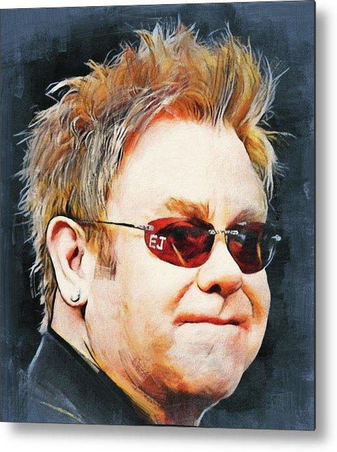 Elton Metal Print featuring the digital art Elton john classic portrait by Yury Malkov