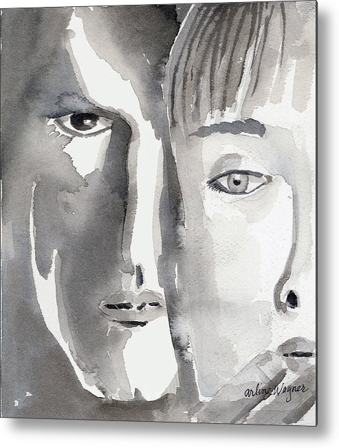 Faces Metal Print featuring the painting Faces by Arline Wagner