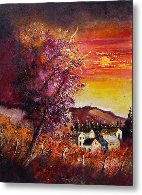 Autumn Metal Print featuring the painting Fall in Villers by Pol Ledent
