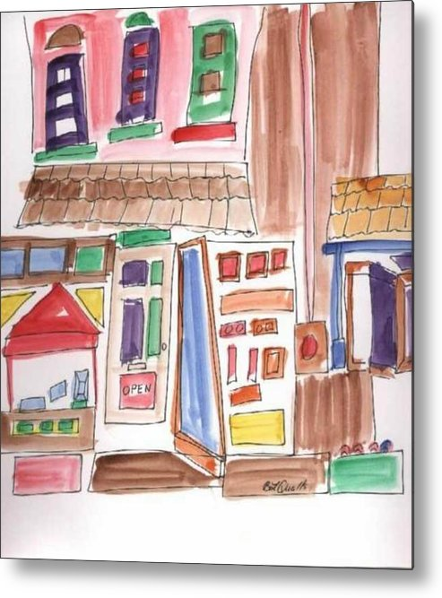 City Metal Print featuring the painting Festival in the City 3 by B L Qualls