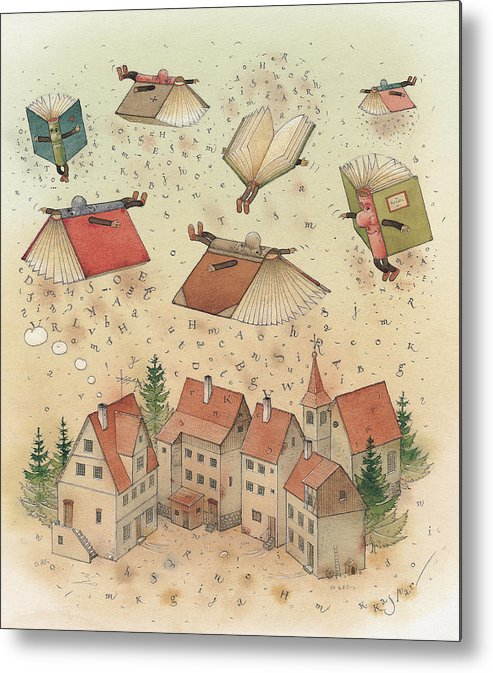 Books Town Flying Alphabet Metal Print featuring the painting Flying Books by Kestutis Kasparavicius