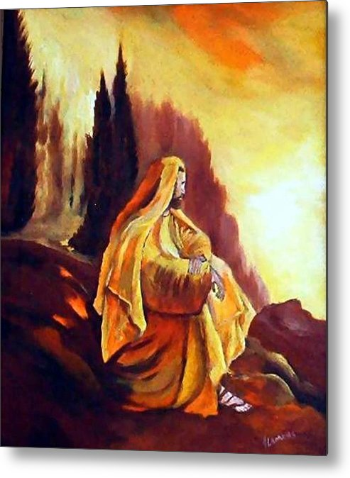 Figurative Metal Print featuring the painting Jesus on the Mountain by Julie Lamons
