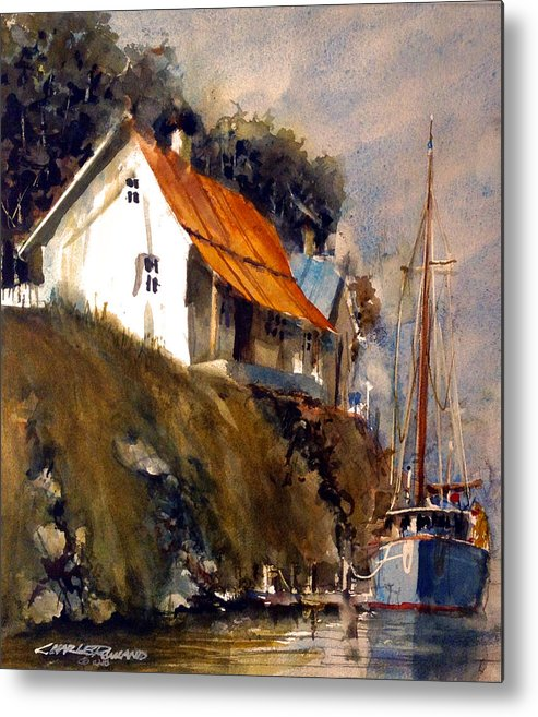 Maine Metal Print featuring the painting Maine Dock by Charles Rowland