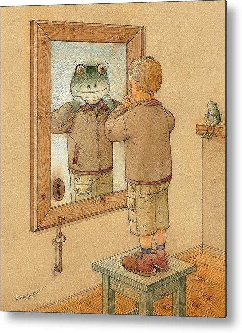 Mirror Room Flat Boy Frog Brown Metal Print featuring the painting Mirror by Kestutis Kasparavicius