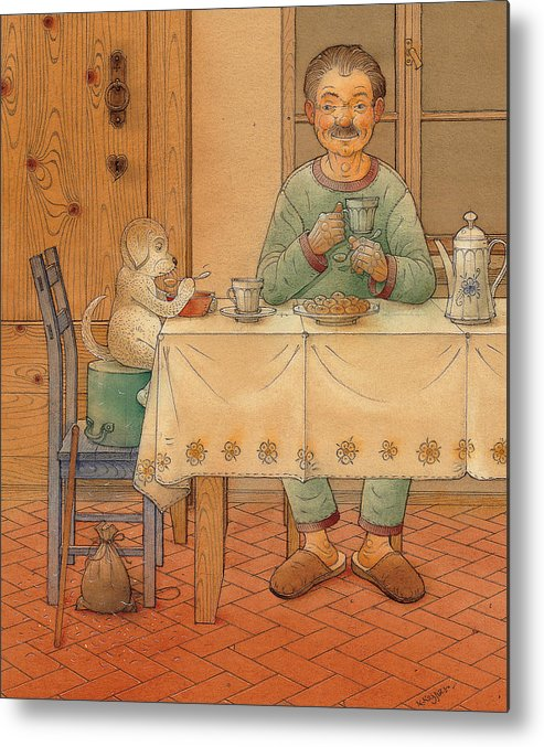 Animals Dog Figure Evening Tea Metal Print featuring the painting Mysterious Guest by Kestutis Kasparavicius