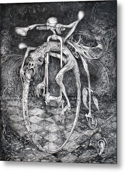 Ouroboros Metal Print featuring the drawing Ouroboros Perpetual Motion Machine by Otto Rapp