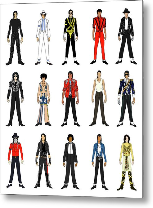Michael Jackson Metal Print featuring the digital art Outfits of Michael Jackson by Notsniw Art