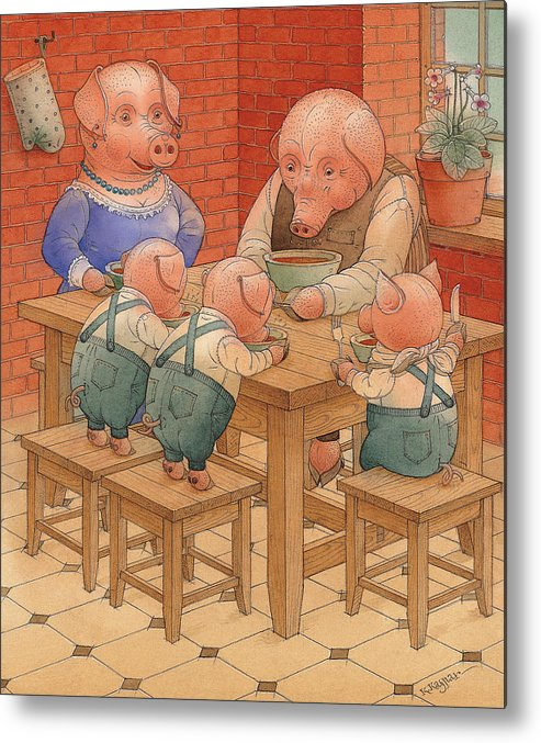 Animals Pig Kitchen Food Family Metal Print featuring the painting Pigs by Kestutis Kasparavicius