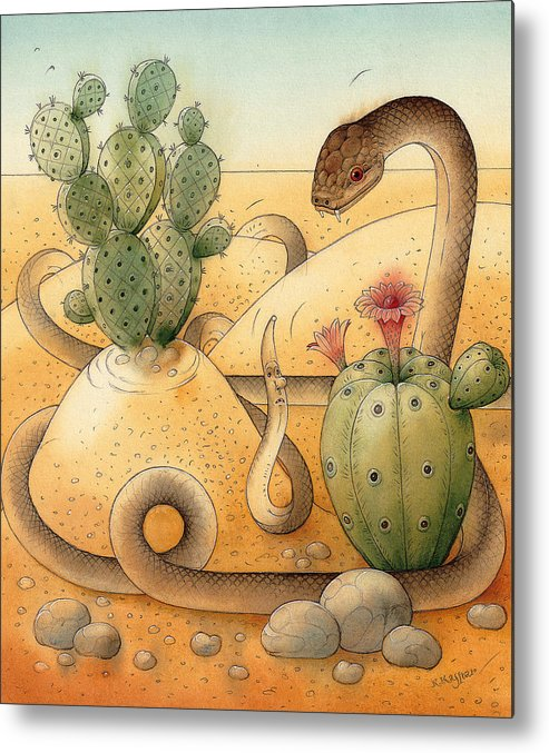 Snake Landscape Sky Cactus Metal Print featuring the painting Snake by Kestutis Kasparavicius