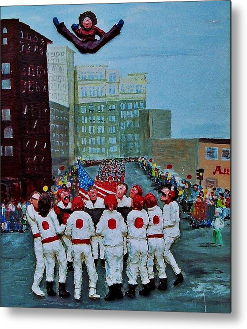Street Metal Print featuring the relief The blanket toss by Richard Hubal