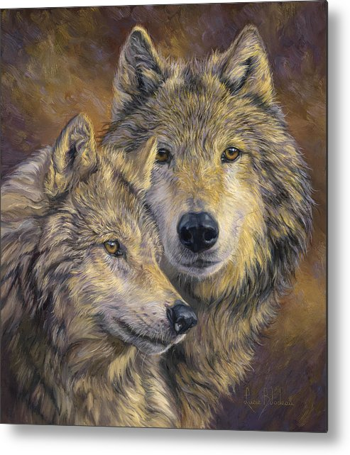 Wolf Metal Print featuring the painting The Bond by Lucie Bilodeau