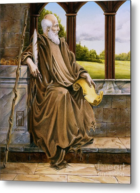 Wise Man Metal Print featuring the painting The Hermit Nascien by Melissa A Benson