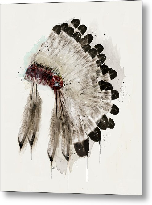 Native Headdress Metal Print featuring the painting The Winter Headdress by Bri Buckley