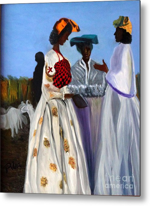 Metal Print featuring the painting Three African Women by Pilar Martinez-Byrne