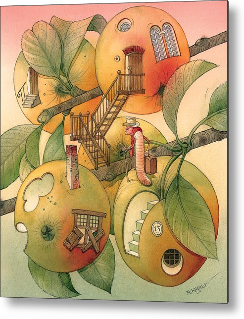 Worm Autumn Apple Garden Home Tree Evening Metal Print featuring the painting Trawelling Worm by Kestutis Kasparavicius