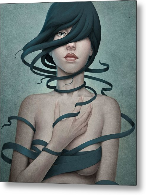 Woman Metal Print featuring the digital art Twisted by Diego Fernandez