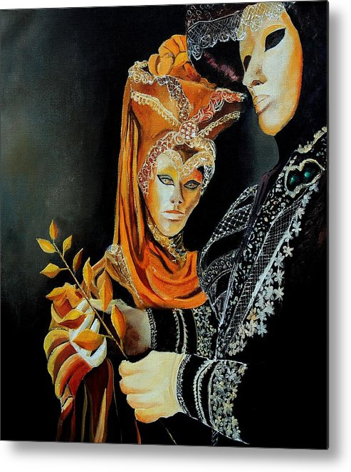 Mask Venice Carnavail Italy Metal Print featuring the painting Two masks in Venice by Pol Ledent