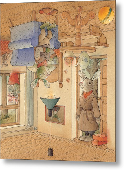Rabbits Metal Print featuring the painting Two Rabbits by Kestutis Kasparavicius