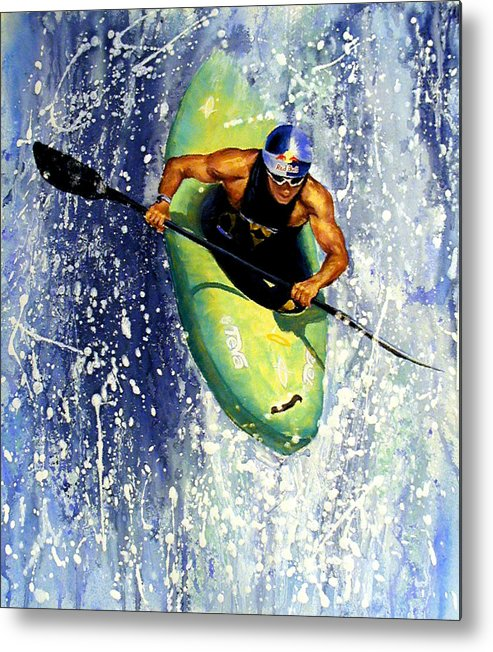 Kayaker Metal Print featuring the painting Whitewater Kayaker by Lynee Sapere