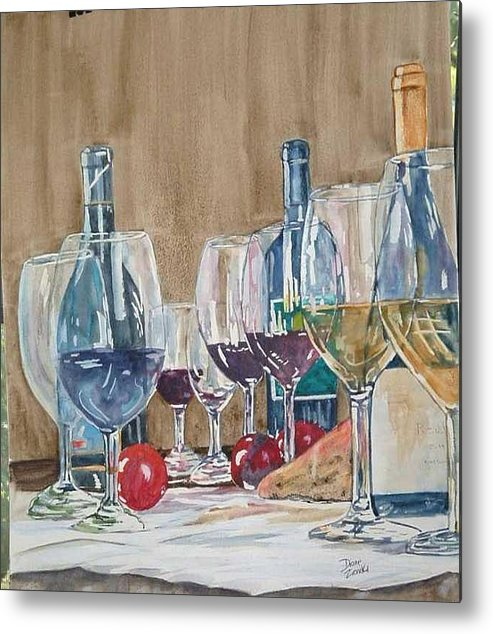 Metal Print featuring the painting Wine 2 by Diane Ziemski