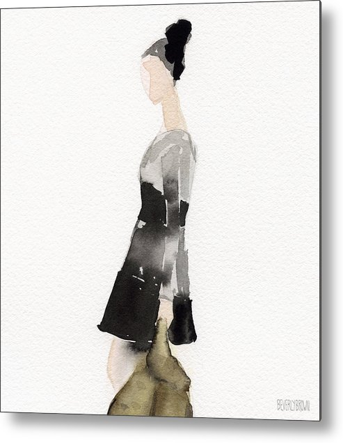 Fashion Metal Print featuring the painting Woman In A Black And Gray Dress Fashion Illustration Art Print by Beverly Brown