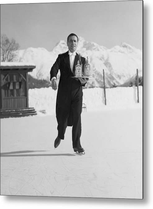 Snow Metal Print featuring the photograph Skating Waiter by Horace Abrahams