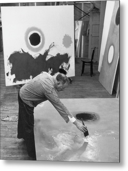 Working Metal Print featuring the photograph Adolph Gottlieb In His Studio by Fred W. McDarrah