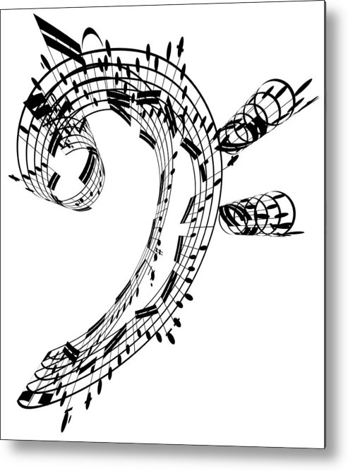 Sheet Music Metal Print featuring the digital art Bass Clef Made Of Music Notes by Ian Mckinnell