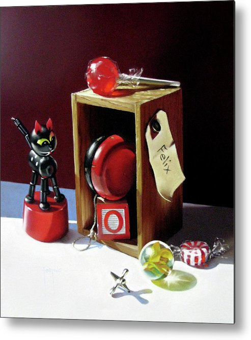 Little Wooden Box Metal Print featuring the pastel Felix's Box by Dianna Ponting