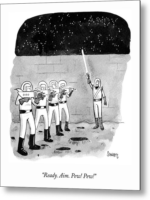 """ready. Aim. Pew! Pew!"" Metal Print featuring the drawing Firing Space Squad by Benjamin Schwartz"