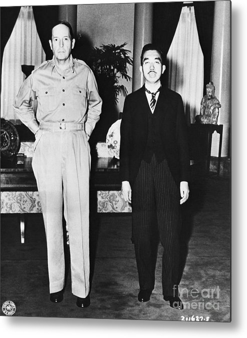 Mature Adult Metal Print featuring the photograph Hirohito And Macarthur Meet by Bettmann