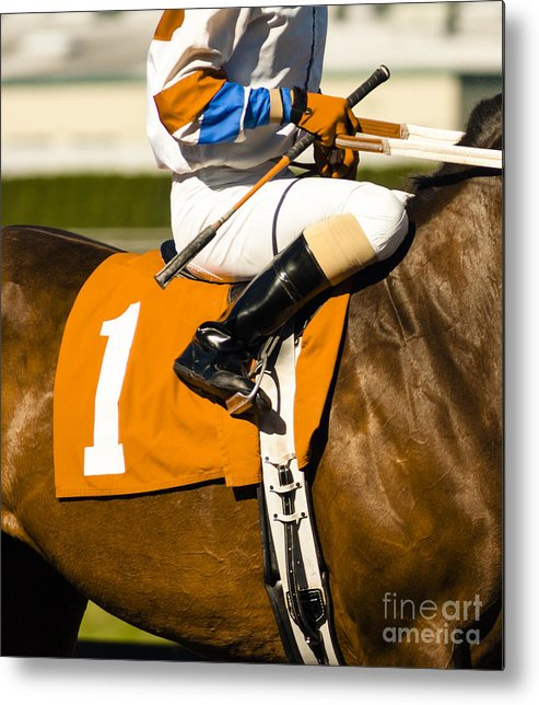 Equestrian Metal Print featuring the photograph Jockey Rides Horse Along Track by Christopher Boswell