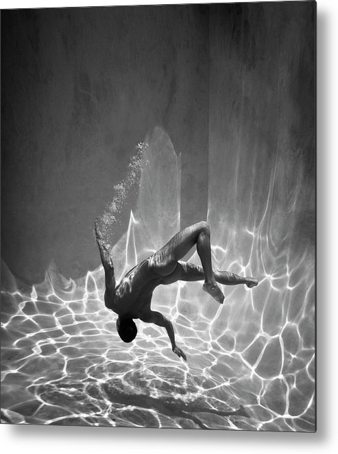 Underwater Metal Print featuring the photograph Naked Man Underwater by Ed Freeman