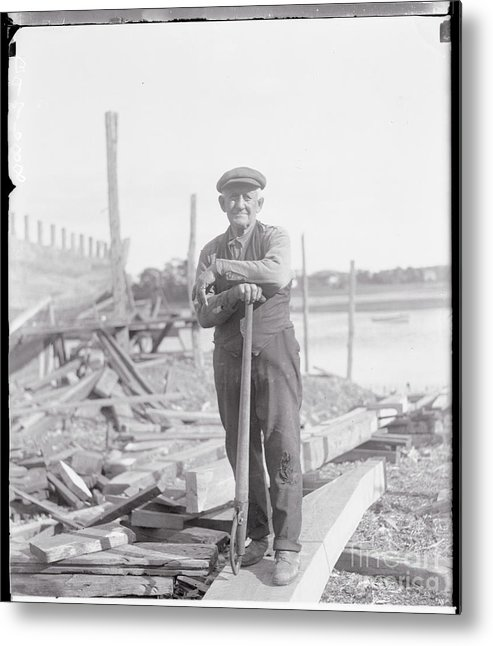 People Metal Print featuring the photograph Portrait Of A Shipyard Workman by Bettmann