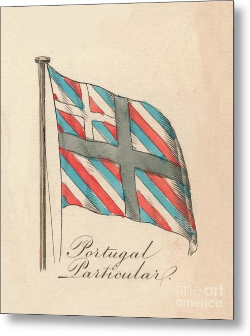 Engraving Metal Print featuring the drawing Portugal Particular, 1838 by Print Collector