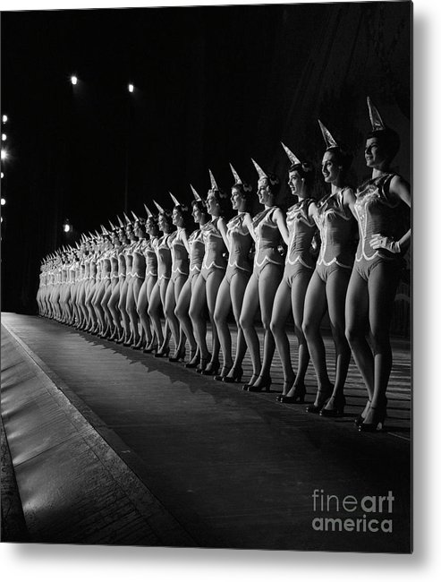 People Metal Print featuring the photograph Rockettes Lined Up In Costume by Bettmann