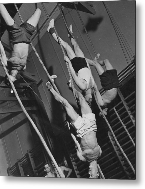 Hanging Metal Print featuring the photograph Upside Down Exercises by Fox Photos