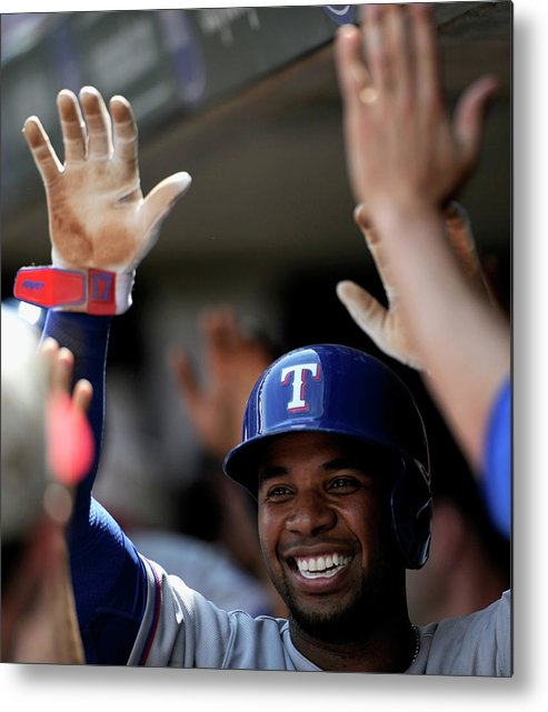American League Baseball Metal Print featuring the photograph Elvis Andrus by Hannah Foslien