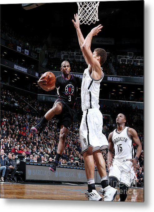 Nba Pro Basketball Metal Print featuring the photograph Brook Lopez and Chris Paul by Nathaniel S. Butler