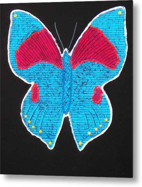 Drawing Metal Print featuring the mixed media Butterfly by Sergey Bezhinets