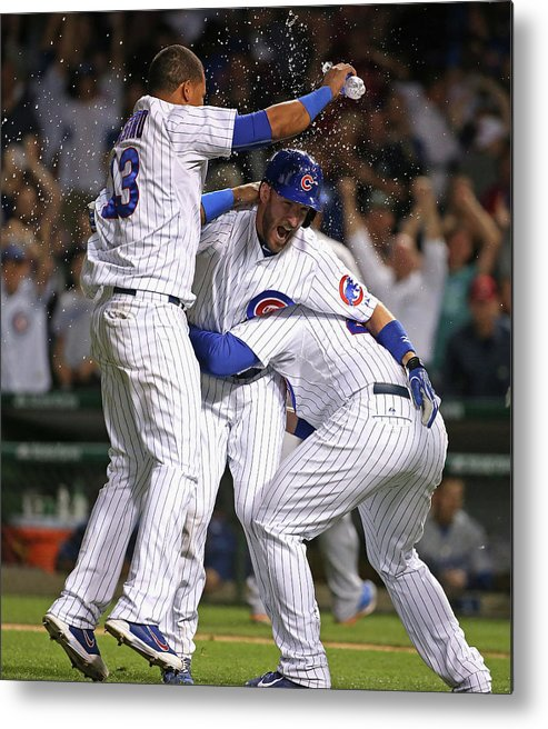 People Metal Print featuring the photograph Chris Denorfia, Anthony Rizzo, and Starlin Castro by Jonathan Daniel